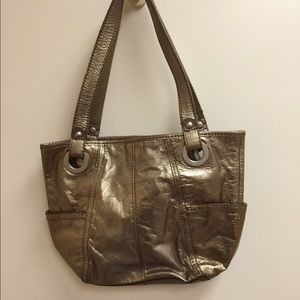 Fossil purse,gold,2 pockets outside&inside,leather